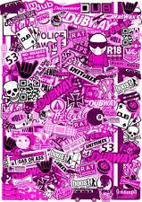 A5 Micro Size EURO Style PINK Vinyl Sticker Bomb Sheet JDM Ratlook R/C Drift Car