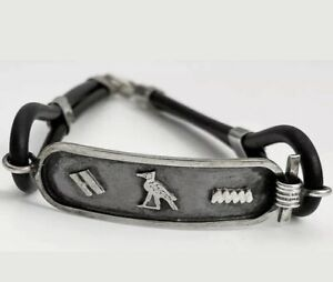 Hieroglyphic Bracelet Rubber Wrist with 925 Sterling Silver Clasp