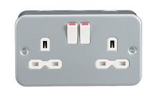Knightsbridge Metal Clad 13 Amp 2gang DP Switched Socket Electrical Wall Plug