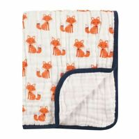 Hudson Baby Boy Four Layer Muslin Tranquility Blanket, Foxes