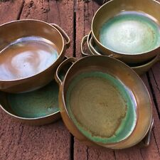 5 Green Brown Pottery Glazed Bowls With Handles Neutral Earthtone Kitchen Decor