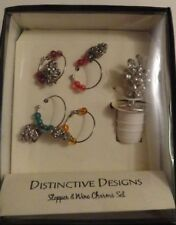 Distinctive Designs Wine Stopper & Charms Set - Grapes, Vine, Cork, Bar, Glasses