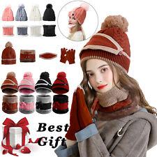 Women Winter Beanie Hat Knitted Scarf Set Skull Cap/Touch Screen Ski Gloves Gift