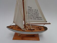WOOD SAILBOAT DISPLAY WITH SCRIPTURE PSALMS 37:23 THE STEPS OF A GOOD MAN ARE