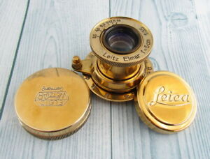 Leitz Elmar 1:3.5 F=5cm Vintage Russian EXCELLENT Gold Lens to camera Leica 2(D)