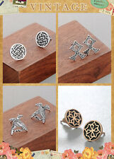 Antique Gold Silver Plated Gothic Earrings Women Men's Fashion Viking Ear Studs