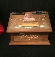 Vintage/Primitive - Handmade Wooden Recipe Box Country Kitchen Hinged Lid w/ Pig
