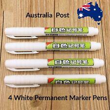 4 White Permanent Marker pens. Oil based. waterproof, Chalk , Blackboard Labels,