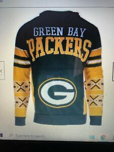 NFL Green Bay Packers Big Logo Ugly Pullover Hoodie Sweater  size Medium