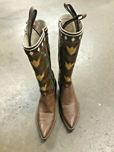 Rocketbuster Handmade Custom Cowboy Boots, Brown, Green and Yellow