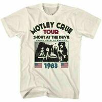 Motley Crue Tour Shout At The Devil 1983 T Shirt Mens Licensed Tee Vintage White