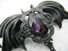 Victorian Black Bat Pendant or Pin Purple Rhinestone Halloween Decoration 1 pc.
