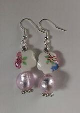 Lampwork drop dangle, silver plated earrings, pink porcelain, hook(37)