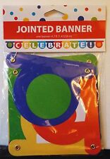Lot of 2 Celebrate Jointed Banners 4.7 Feet Long Red Blue Green Yellow NEW