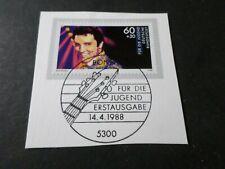 ALLEMAGNE 1988, timbre ELVIS PRESLEY, CHANTEUR, oblitéré FDC, VF STAMP