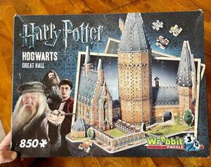 3D Puzzle Harry Potter Hogwarts GREAT HALL Wrebbit 850 pc EUC