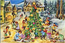Weihnachtsbaum Glitzernde Adventskalender–Karte von Lore Hummel Reprint 12292