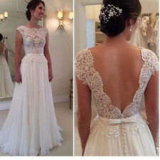 Vintage White Ivory Wedding Dresses Beach Lace&Chiffon A-Line Bridal Gown Custom