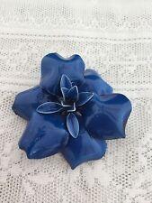 Big Vintage Cobalt Blue Plastic Enamel Flower Brooch