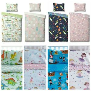 Kids Children's Cot Duvet Cover & Matching Pillowcase Sets - 90cm x 120cm