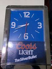 Vintage Coors Beer Clock Lighted Bar Silver Bullet Not Functional