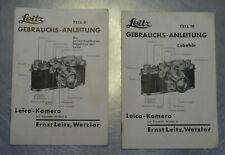 2x Originale Leitz Gebrauchsanleitung Leica Kamera Teil II und Teil III