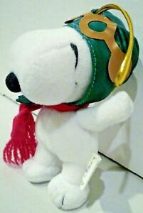 SNOOPY FLYING ACE PILOT New Vintage Peanuts Plush Ornament by Adler