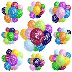 Luftballons Ballons Zahlen Happy Birthday Kinder Geburtstag bunt Party 10 Stück