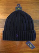NWT Polo Ralph Lauren Wool Cuffed Cap Skull Beanie Black w/ purple pony One Size