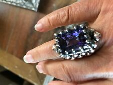 Anthropologie Purple Crystal Amythest large silver ring 7 NWOT $450