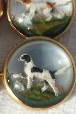 INTAGLIO GLASS CUFFLINKS HUNT DOGS REVERSE PAINTED DOUBLE SIDED c'1905 14K RARE