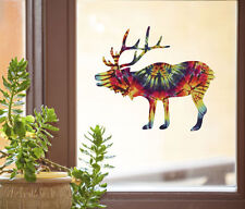 "CLR:WND - Rainbow Tie Dye Elk - Window Vinyl Decal - ©YYDC (6""w x 5.25"")"