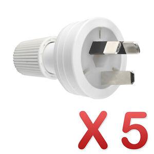5 x HPM Rear Entry Electrical Plug Top 3 Pin White 10A CD100LWE