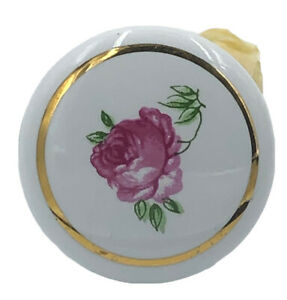 10 White Round Pink Rose Porcelain Knobs Picture Gold Edging NOS