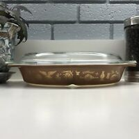 Pyrex 1.5 qt Divided Casserole Dish w/lid Oval Vintage Early American Brown Gold