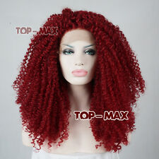 Red Ladies Party 24 Inches Curly Long Heat Resistant Women Lace Front Wigs+Cap