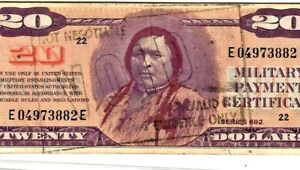 "$20 (INDIAN NOTE) ""MILITARY PAYMENT CERTIFICATE"" SERIES 692  $20 RARE NOTE!!!!!!"