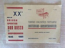RARO PROGRAMMA UFFICIALE CALCIO TORNEO ROTTIGNI MARCHISOTTI SAMPIERDARENA 1965