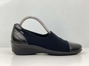 Ecco Felicia Gore Tex Womens Black Leather And Fabric Wedge Court Shoe UK Size 5