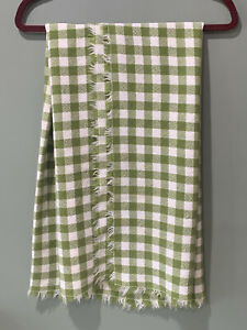 """SAGE GREEN WHITE GINGHAM Throw Blanket? Tablecloth? Soft Comfy Fringed 45""""x 46"""""""