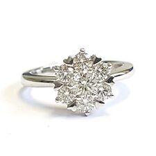 1.00Ct Round Diamond Cluster Ring , 18k White Gold