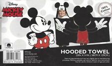 "Disney Mickey Mouse Hooded Towel 100% Cotton Terry Black 51""x23"" Bath Beach Pool"