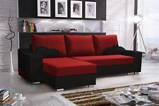 Ecksofa Sofa COLLIN mit Schlaffunktion Schwarz / Rot Ottomane Links