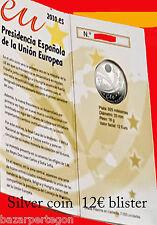 CARTERA ESPAÑA 12 EUROS 2010 PLATA silver Spain- Spange- Spanien presidencia
