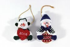 """Snowman & Snowwoman Stuffed Felt Ornaments with Wood """"2006"""" Plaques, Pre-owned"""