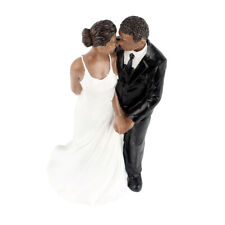 Wedding Party Resin Groom Bride Black Couple Figurine Cake Stand Topper