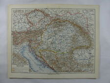 Antique Map Austria Hungary Monarchy Bavaria Bosnia Serbia Turkey Adriatic Sea