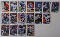 1991 Upper Deck UD Detroit Lions Team Set of 17 Football Cards