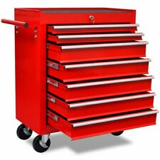 Lockable Handy Workshop Tool Cabinet Cart Wheel Trolley With 7 Sliding Drawers