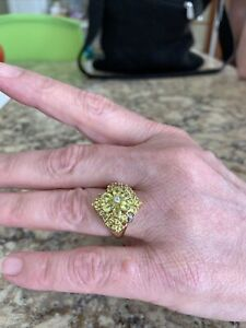 10k Gold Canary Tourmaline Ring with Diamond Accents